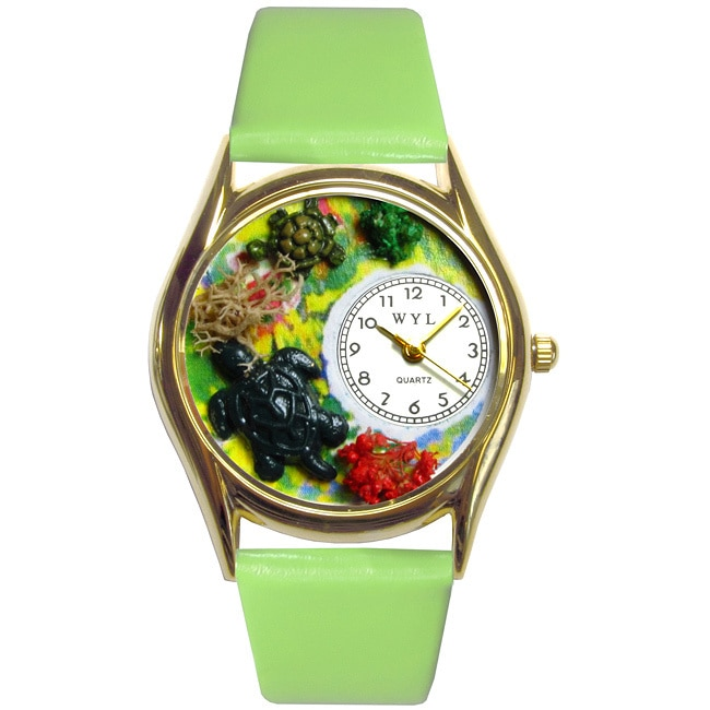 Whimsical Turtles Green Leather Watch