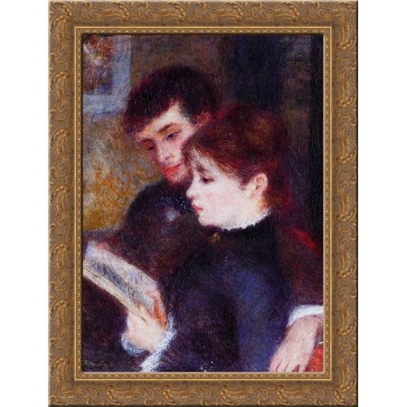 Reading Couple (Edmond Renoir and Marguerite Legrand) 20x24 Gold Ornate Wood Framed Canvas Art by Renoir, Pierre Auguste