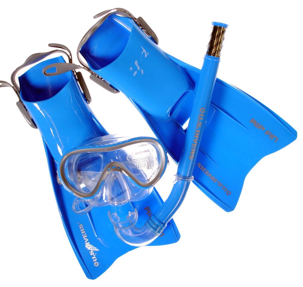 U.S. Divers Kids Snorkel Set (Coral Mask Tonga Snorkel Rip Fins) L Blue by