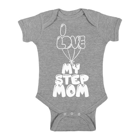 Awkward Styles I Love my Step Mom Baby Bodysuit Short Sleeve Lovely One Piece Clothes Short Sleeve Step Mother Clothing Collection Best Baby Gifts I Love my Mommy One Piece Clothing for