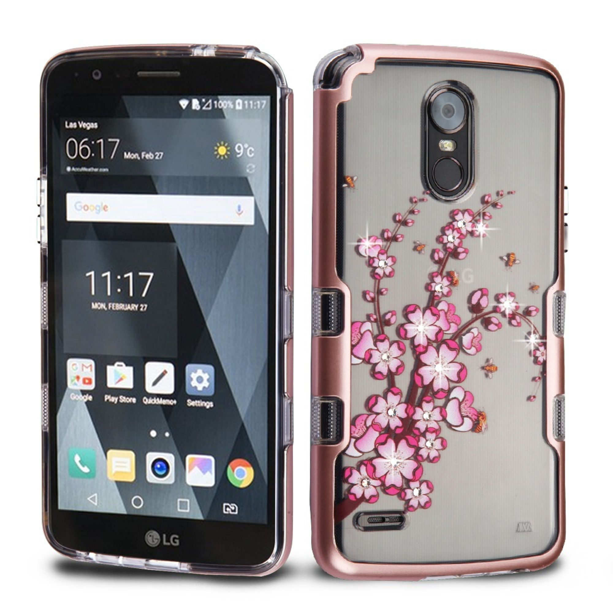 LG Stylo 3 case, LG Stylo 3 Plus Phone Case, by Insten Hybrid Hard Plastic/Soft TPU Rubber Case for LG Stylo 3 LS777 / LG Stylus 3 / LG Stylo 3 Plus / LG K10 Pro - Rose Gold/Clear