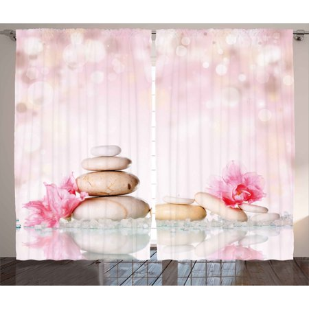 Spa Curtains 2 Panels Set, Bohemian Zen Stones and Soft Petals Therapy Tradition Chakra Yoga Asian Picture, Window Drapes for Living Room Bedroom, 108W X 84L Inches, Light Pink Peach, by Ambesonne ()