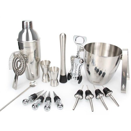 Bar Set 17 Pieces Bartender Kit Cocktail Bar Set Stainless Steel Cocktail Set includes 24oz Martini Cocktail Shaker 50oz Ice Bucket Double Size Jiggers and other Essential Bartending Bar Tools