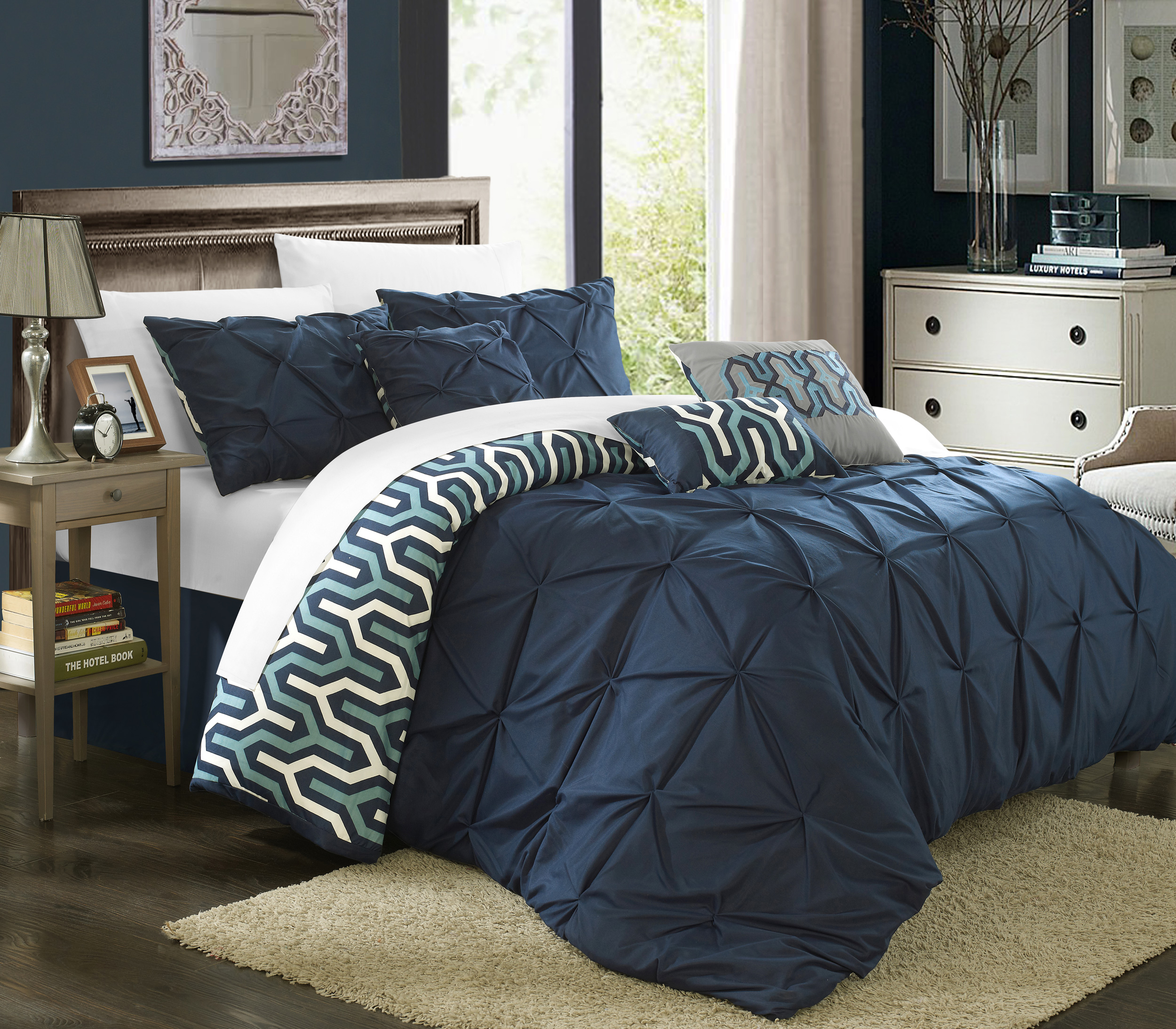 chic home elegant 7piece trefort oversized overfilled pleated pin tuck reversible comforter set