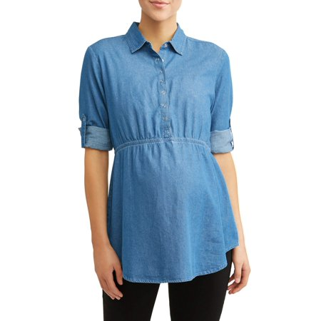 Maternity Chambray Button Pocket Top
