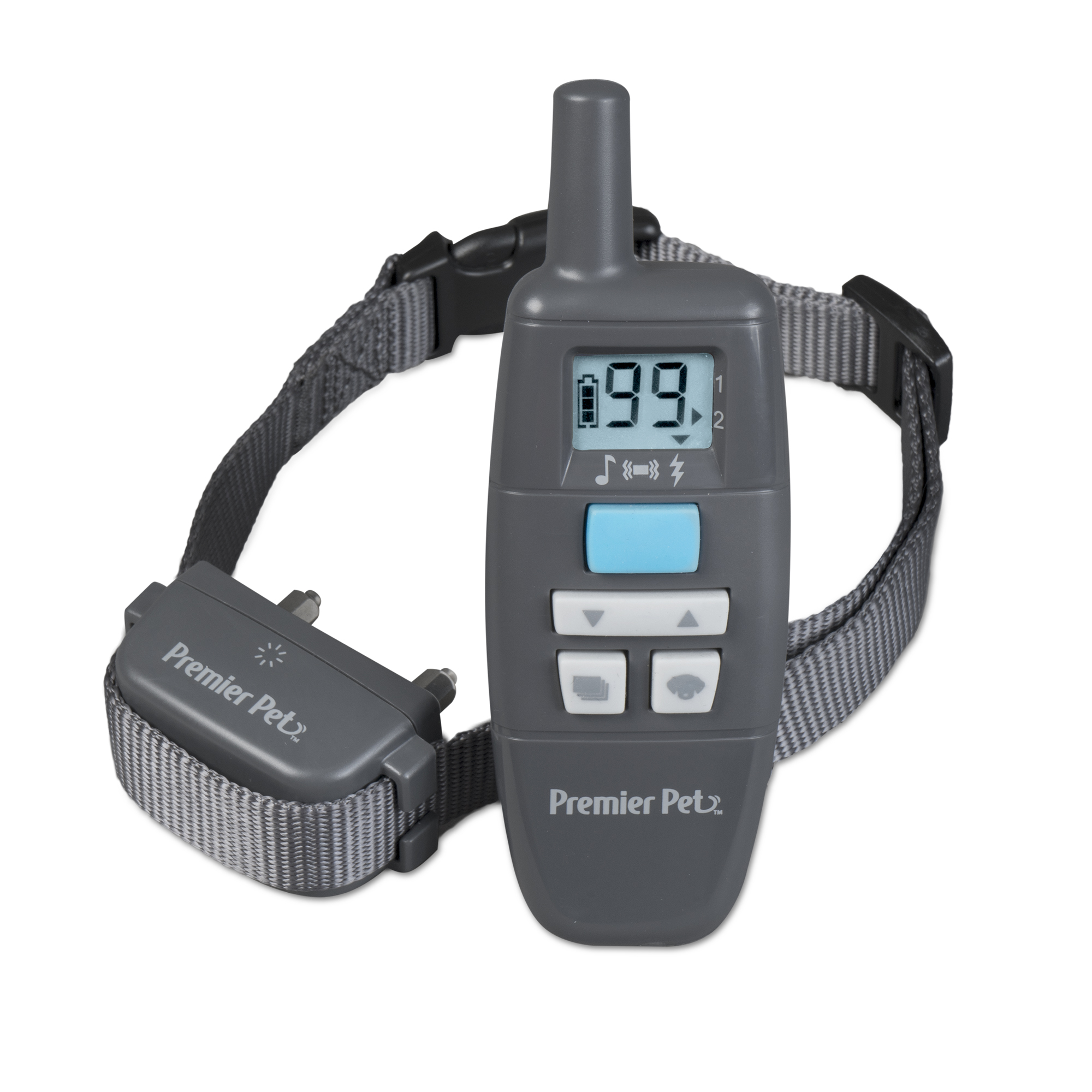 Premier Pet 300 Yard Remote Trainer with Tone/Beep, Vibration and 99 Levels of Static - Rechargeable, Easy-to-Use Pet Training System - Waterproof, Adjustable Collar Fits Small, Medium and Large Dogs