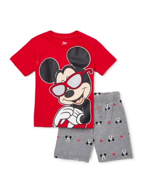 Mickey Mouse Baby Toddler Boy T-Shirt & Printed French Terry Shorts, 2pc Outfit Set