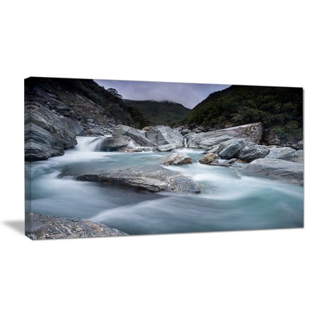 Design Art Slow Motion Mountain River and Rocks Landscape Photographic Print on Wrapped -