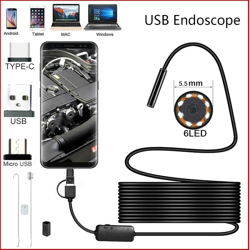 2//5//10M 6LED Waterproof IP67 Endoscope Inspection Borescope Camera Android W