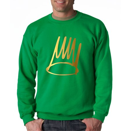 Trendy USA 454 - Crewneck Born Sinner Halo King Queen Crown Sweatshirt 2XL Kelly Green