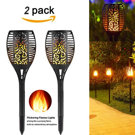 (2 PACK) Solar Path Torches Lights Dancing Flame Lighting 96 LED Dusk to Dawn Auto On/Off Flickering Tiki Torches for Patio Deck Yard Wedding Outdoor