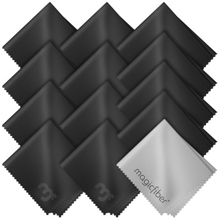 (13 Pack) MagicFiber Microfiber Cleaning Cloths - For All LCD Screens, Tablets, Lenses, and Other Delicate Surfaces (12 Black and 1 Grey 6x7