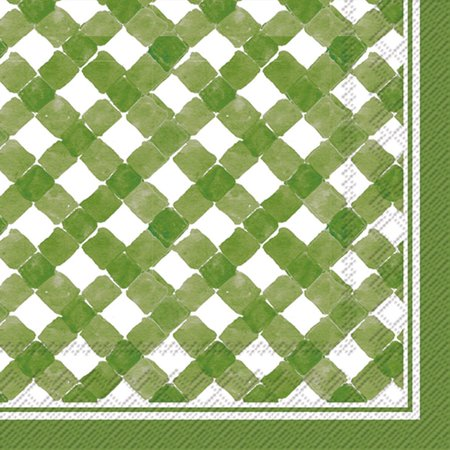 Boston International C016503 Roseanne Beck Cocktail Napkins, Green (Gingham Cocktail)