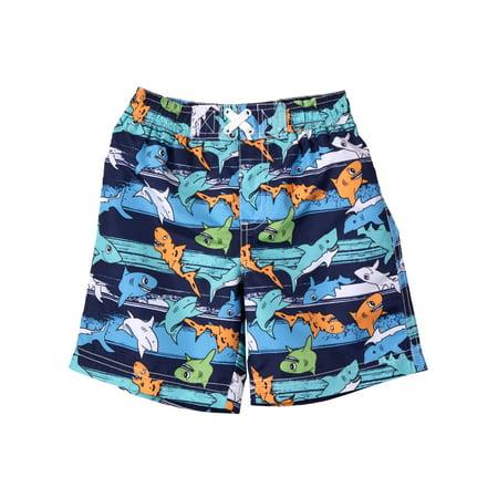 WIPPETTE KIDS Shark All Over Print Board Short Swim Trunk (Baby Boys & Toddler Boys)