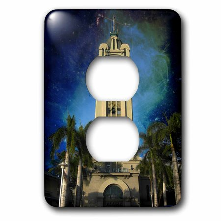 3dRose Aloha Tower at Night in Honolulu - 2 Plug Outlet Cover (Outlet Store Honolulu)
