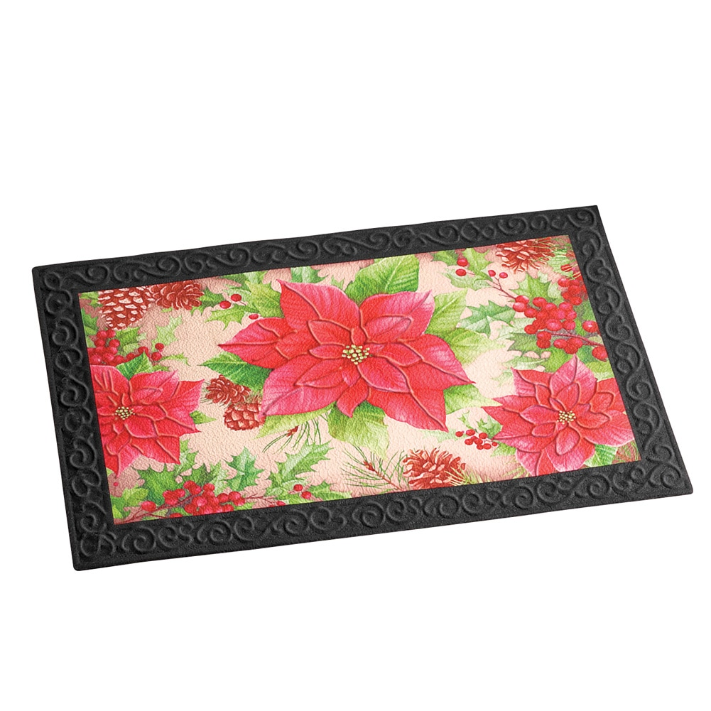 Poinsettia Christmas Front Door Mat