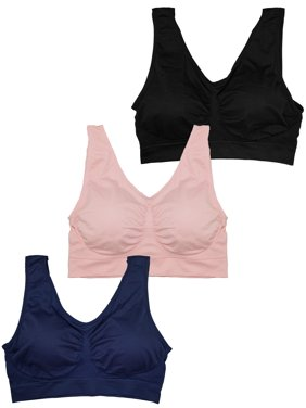 Stylzoo Plus Size Women's 3 Pack Seamless Wire Free Bra with Removable Pads