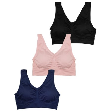 65083ce999ba8 Stylzoo - Stylzoo Plus Size Women s 3 Pack Seamless Wire Free Bra with  Removable Pads - Walmart.com