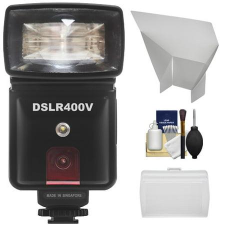 Precision Design DSLR400V High Power Auto Flash with LED Video Light + Diffuser + Bounce Reflector Kit for Nikon D3200, D3300, D5200, D5300, D7000, D7100, D610, D800 Cameras