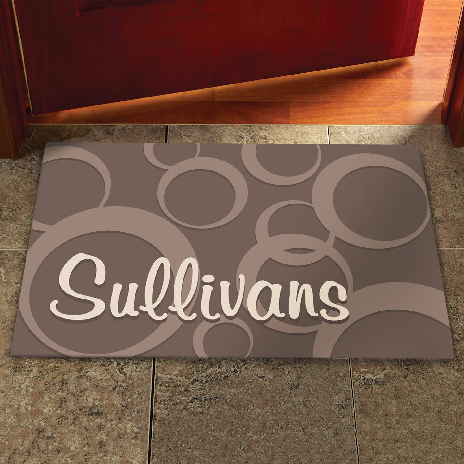 Personalized Large Circles Doormat, Available in Different Sizes