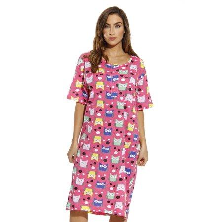 e9ceef4b23 Just Love - Just Love Short Sleeve Nightgown   Sleep Dress for Women    Sleepwear (Owl   Dots