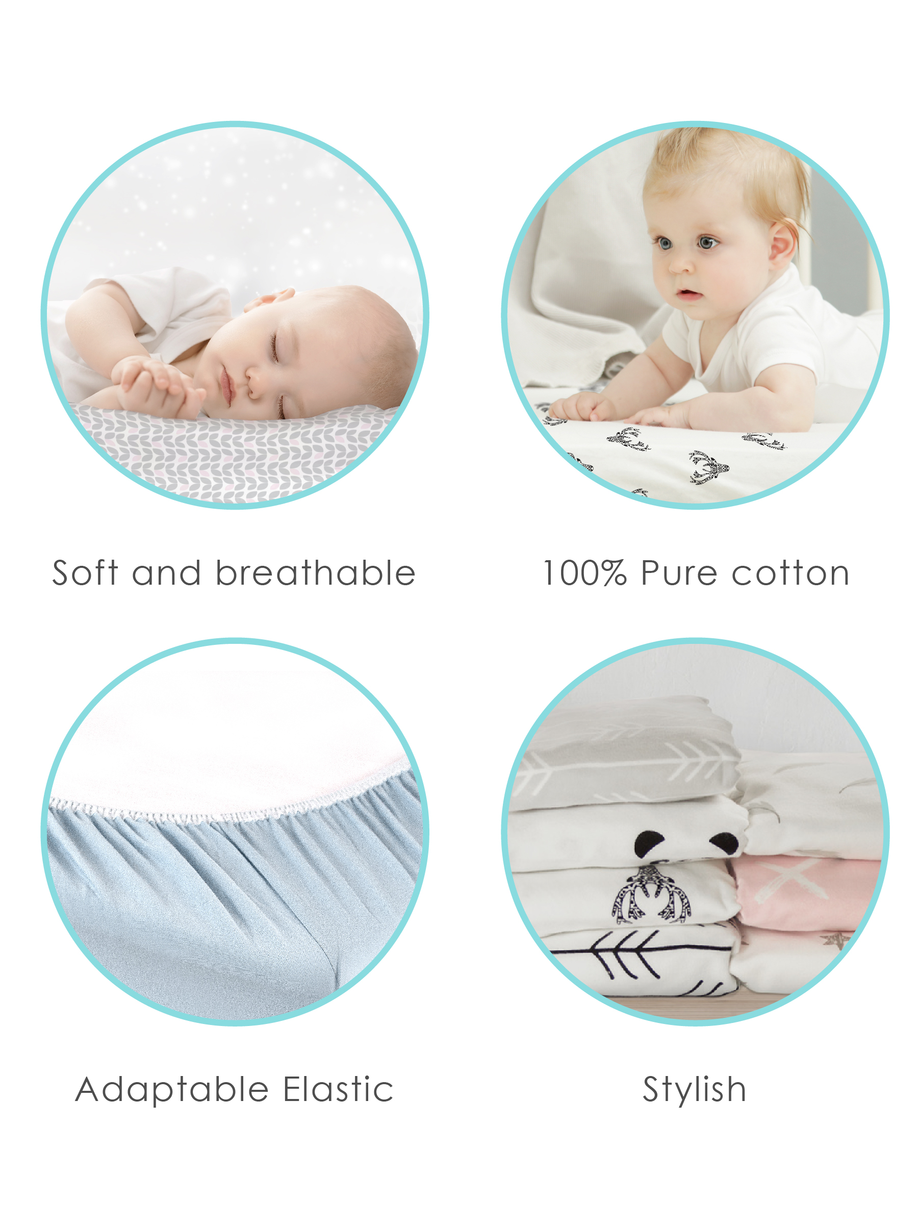 White Ben /& Noa Pack N Play Playard Sheet Superior Quality 100/% Breathable Jersey Cotton Made in Canada