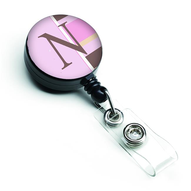 Carolines Treasures CJ1005-NBR Letter N Initial Monogram - Pink Stripes Retractable Badge Reel - image 1 de 1