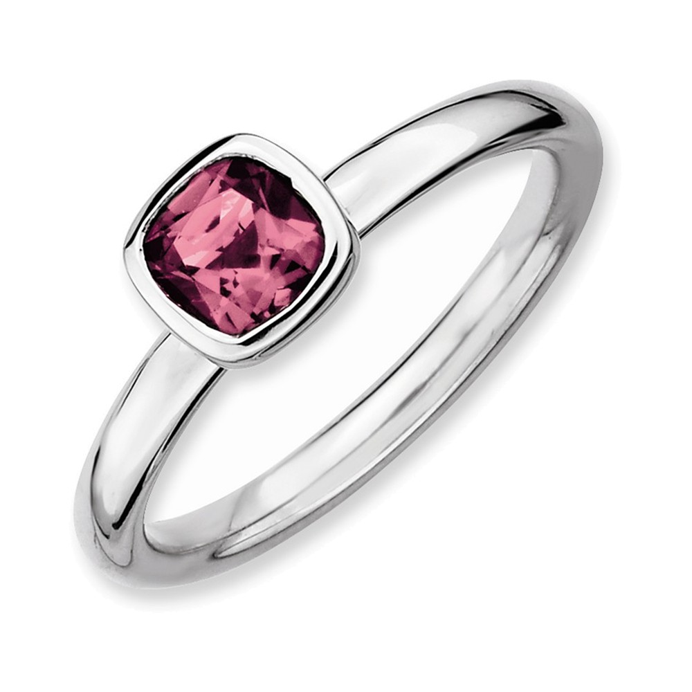 SS Stackable Expressions Cushion Cut Pink Tourmaline Ring Size 7 by