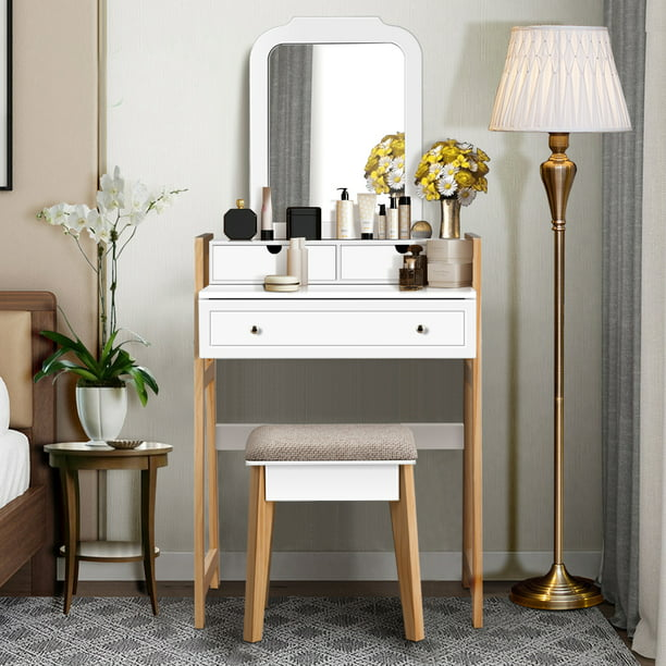 Costway Makeup Vanity Table Dressing table Cushioned Stool Set