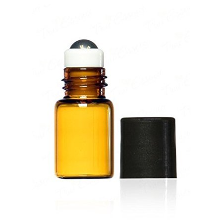 Grand Parfums 2 ml, 5/8 Dram Amber Glass Mini Roll-on Glass Bottles with Metal Roller Balls - Refillable Aromatherapy Roll On (12)