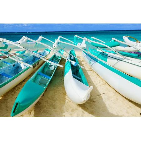 Hawaii Oahu Lanikai Outrigger Canoes Stacked Along The Beach Posterprint