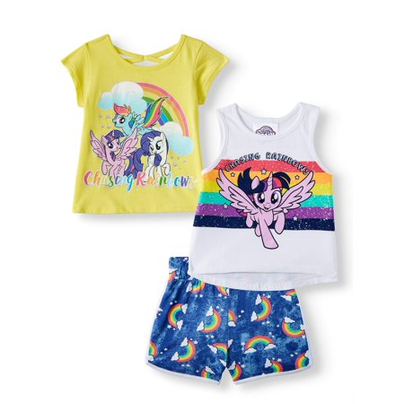 80s Outfit For Girl (My Little Pony Toddler Girls' Tank Top, T-Shirt and Shorts, 3-Piece Outfit)