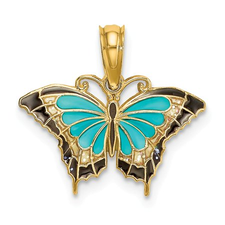 14k Yellow Gold Small and Stained Glass Wings Butterfly Charm (Yellow Butterfly Stained Glass)
