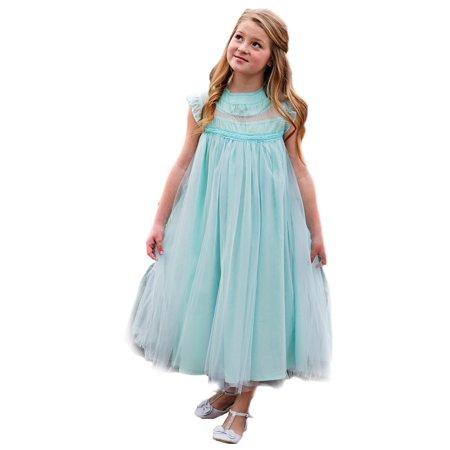 Girls Island Paradise Blue Smocked A-Line Junior Bridesmaid Easter