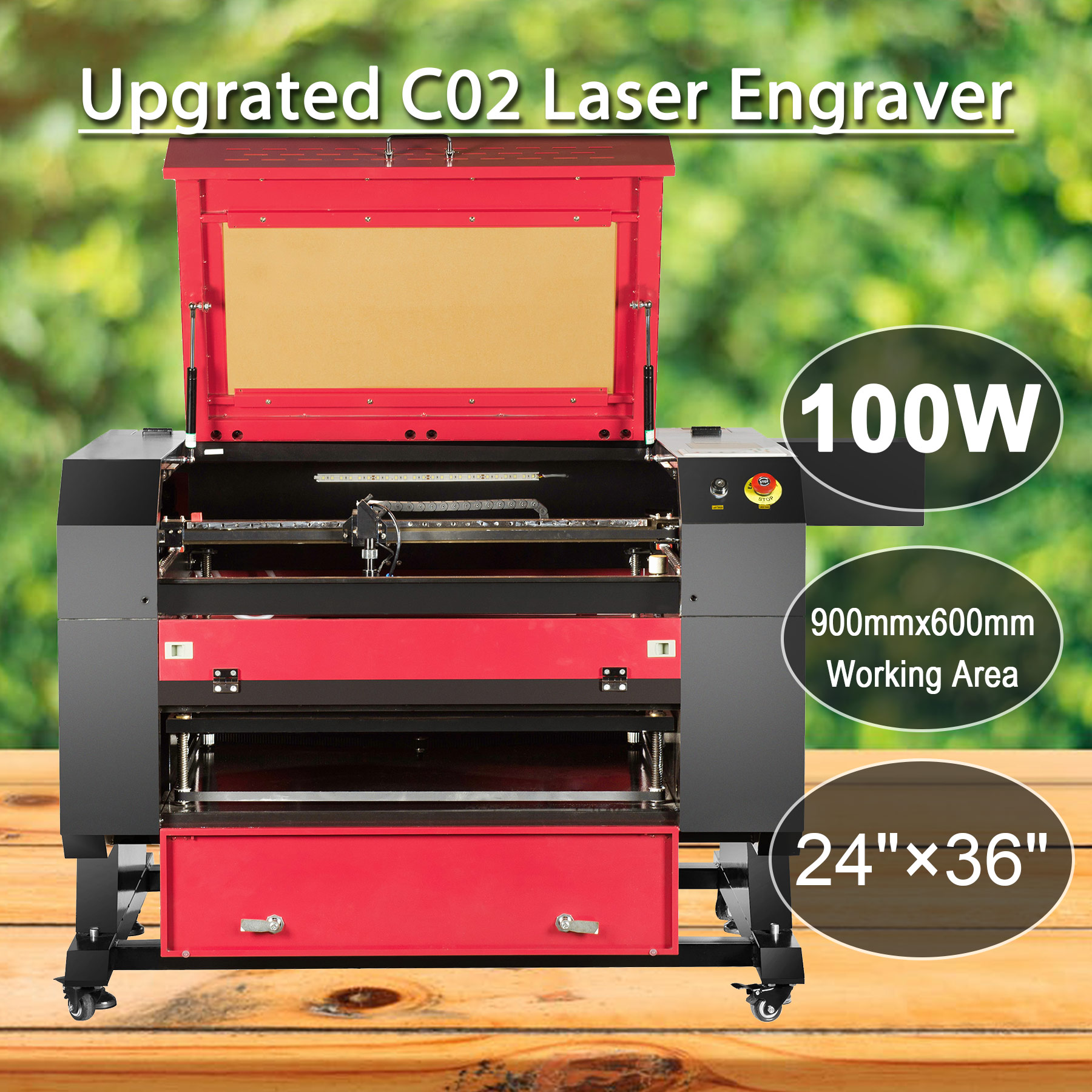 100W CO2 USB Port Laser Engraving Cutting Machine 700x500mm Engraver Cutter