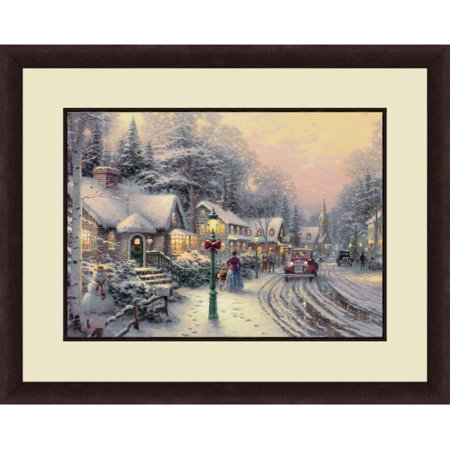 Thomas Kinkade,Village Christmas, 20x16 Decorative Wall Art ()