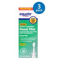 (3 Pack) Equate No Drip Severe Congestion Nasal Mist, 1 Fl Oz