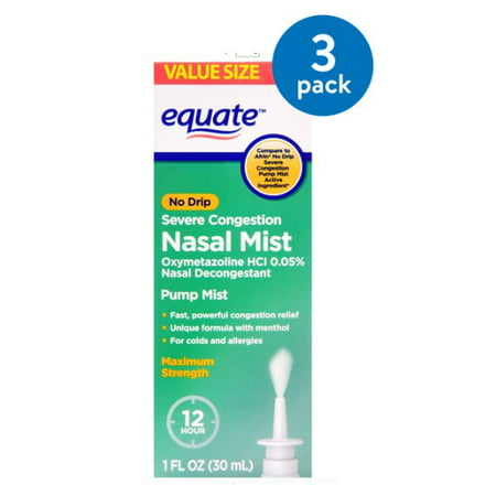 (3 Pack) Equate No Drip Severe Congestion Nasal Mist, 1 Fl Oz