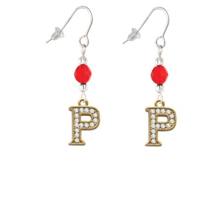 Crystal Gold Tone Initial - P - Beaded Border - Red Bead French Earrings ()