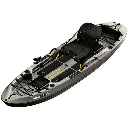 Angler Fishing Kayak Package - Sun Dolphin Boss 12' SS Sit-On Top/Stand-Up Angler Kayak, Gray