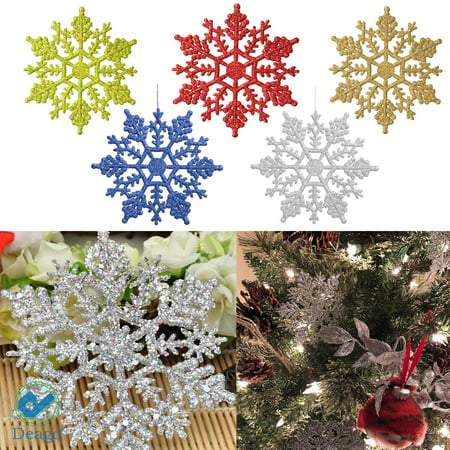 Deago 12 Pcs Christmas Plastic Glitter Snowflake Ornaments Decoration For Tree Holiday Party Store Home Xmas Decor