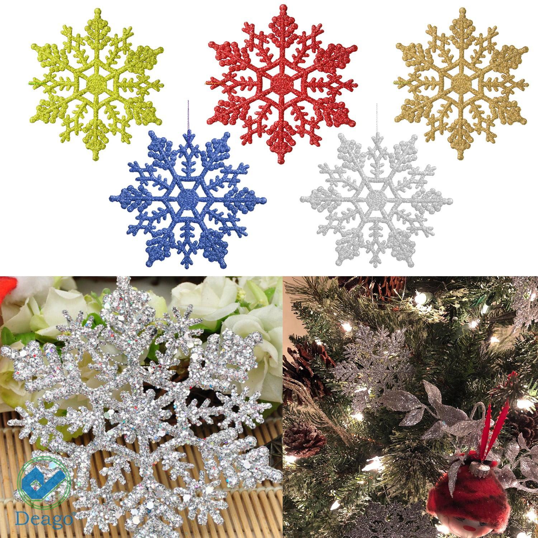 "Deago 12 Pcs Christmas Plastic Glitter Snowflake Ornaments Decoration For Tree Holiday Party Store Home Xmas Decor 3.93"""