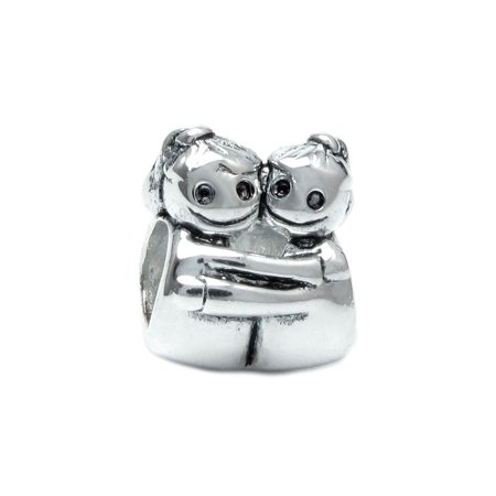 Queenberry Sterling Silver Hugging Sister European Bead Charm Fits (Best Sister Charms For Pandora Bracelets)