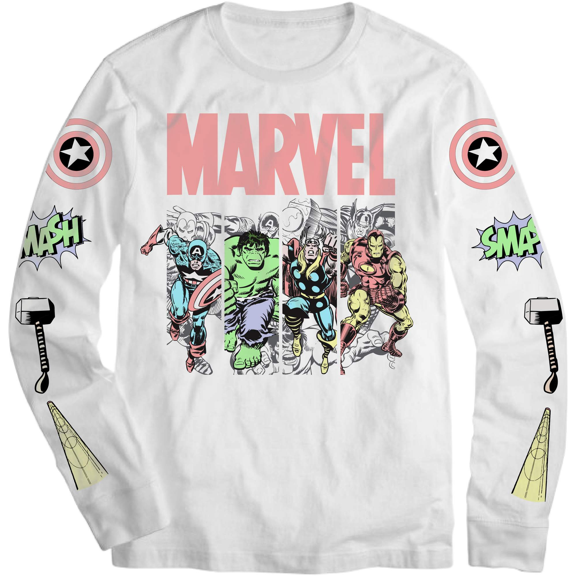 Marvel Heroes White Long Sleeve Graphic Tee