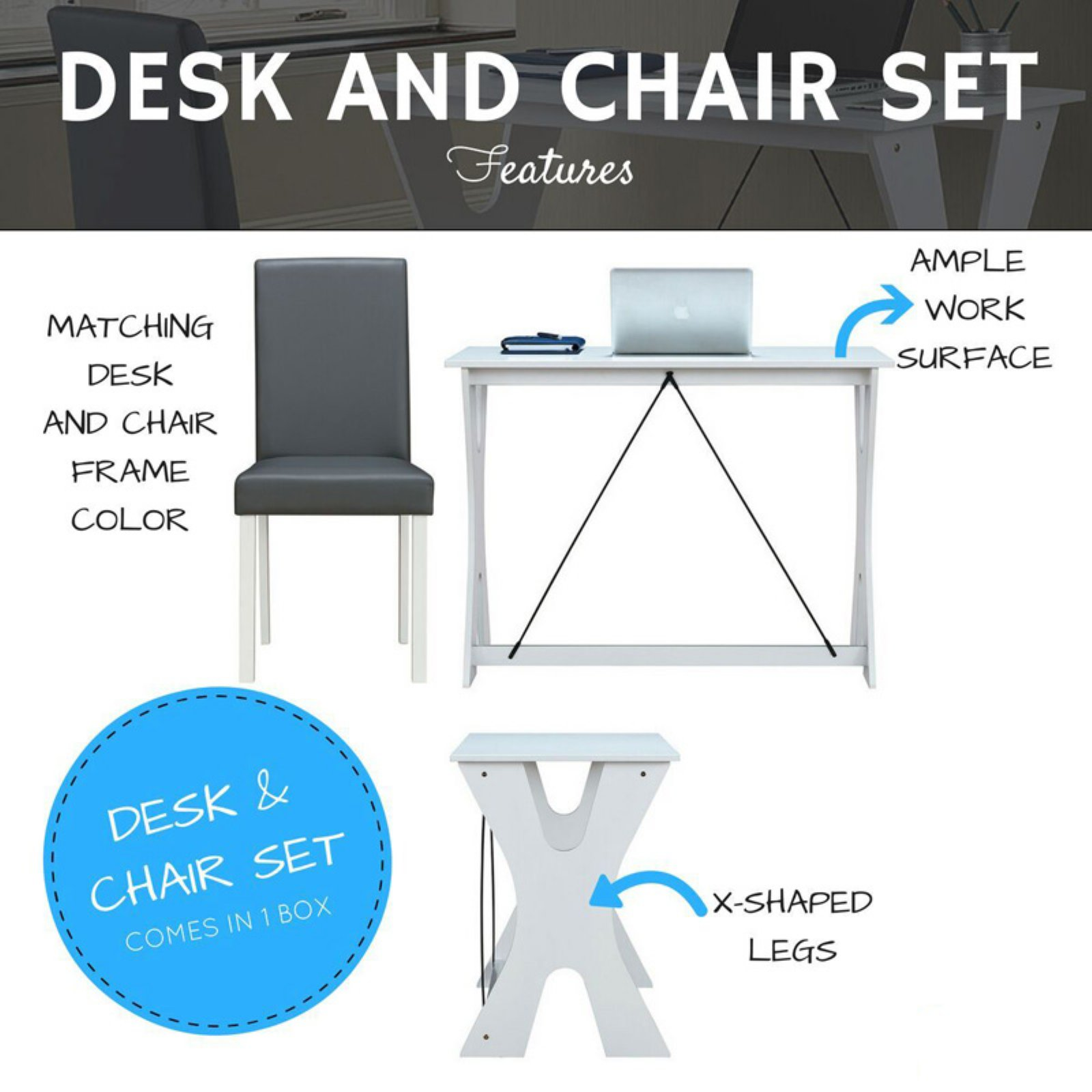 Techni Mobili Modern Matching Desk And Chair Set Colors White Grey