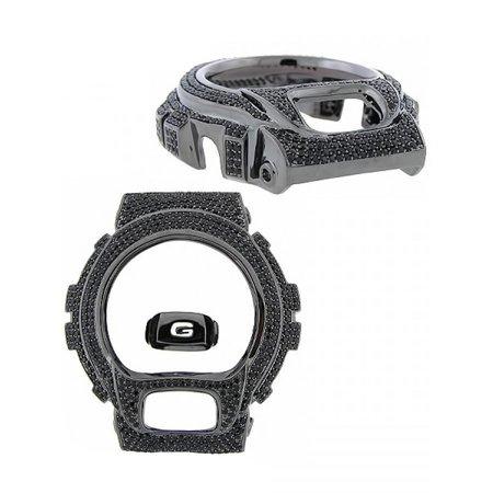 Black Onyx Bezel - DW6900 G Shock Watch Custom Iced Out Black Onyx Simulated Diamonds Bezel Insert Cover Case