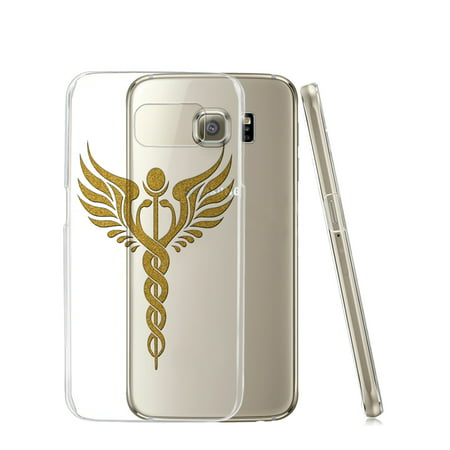 869f70dc6d KuzmarK™ Samsung Galaxy S6 Edge Clear Cover Case - Caduceus Staff Gold  Sparkle - Walmart.com