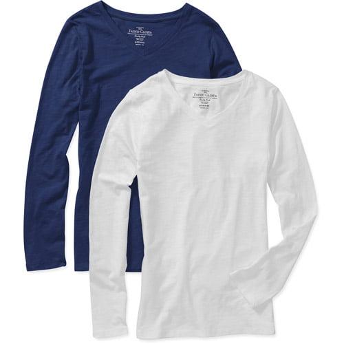 Women's Long Sleeve V-Neck T-Shirts, 2-Pack