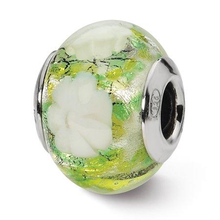 Italian Murano Glass Flower - Sterling Silver Reflection Green and White Flower Italian Murano Bead MSRP $81