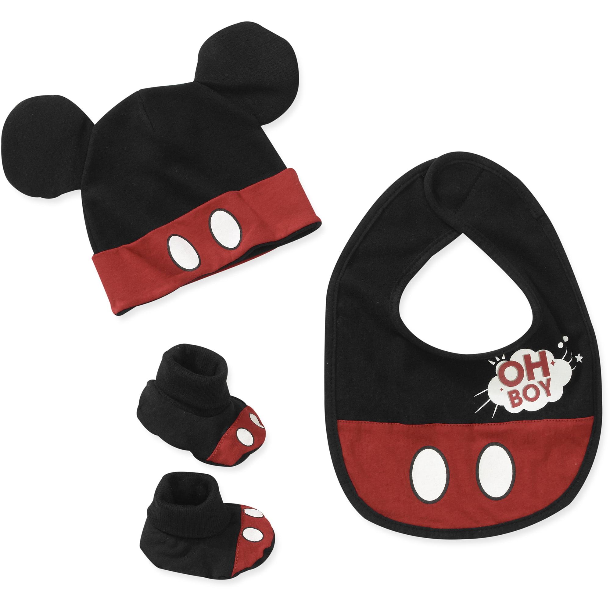 Baby Boys' 3 Piece Mickey Bib, Hat and Sock Set